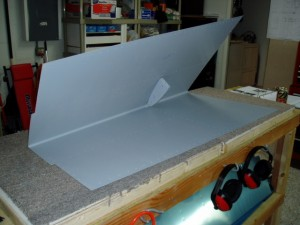Interior nose rib riveted to left side HS skin.